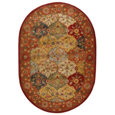 Balthrop Handmade Wool Red/Gold Area Rug Rug Size: Oval 46 x 66