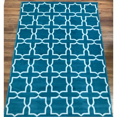Dunlin Geometric Blue/Cream Area Rug Rug Size: Rectangle 8 x 10