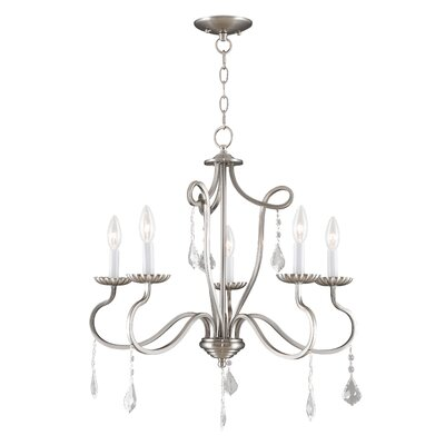 Doncaster 5-Light Candle-Style Chandelier Color: Brushed Nickel