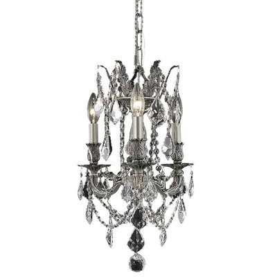 Utica 3-Light Candle-Style Chandelier Crystal Color / Crystal Trim: Crystal (Clear) / Strass Swarovski