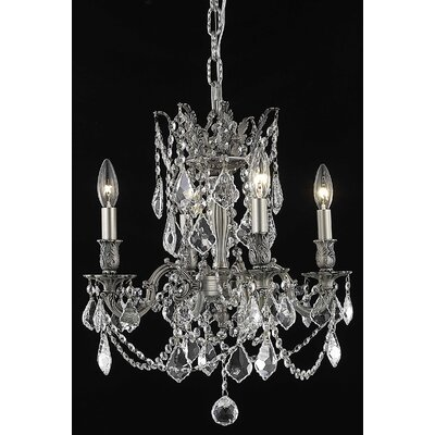Utica 4-Light Candle-Style Chandelier Crystal Color / Crystal Trim: Golden Teak (Smoky) / Royal Cut