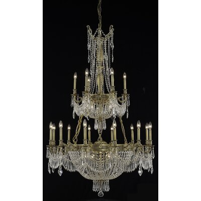 Ursula 27-Light Crystal Chandelier Color: French Gold, Crystal Trim: Elegant Cut