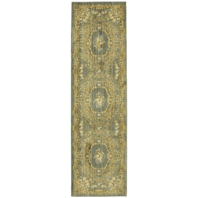 Bluffton Green/Yellow Area Rug Rug Size: Runner 21 W x76 L