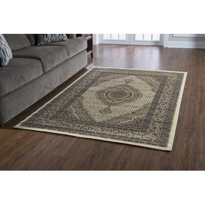 Lozoya Tabriz Cream Area Rug Rug Size: Rectangle 8 x 10