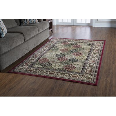 Lozoya Red/Cream Area Rug Rug Size: Runner 23 x 16