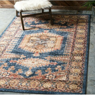 Nathanson Dark Blue Area Rug Rug Size: Rectangle 8 x 10