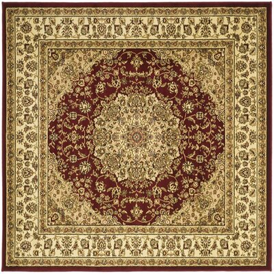 Barton Red/Ivory Rug Rug Size: Square 6