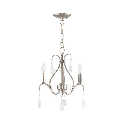 Aria 3-Light Crystal Chandelier Finish: Brushed Nickel