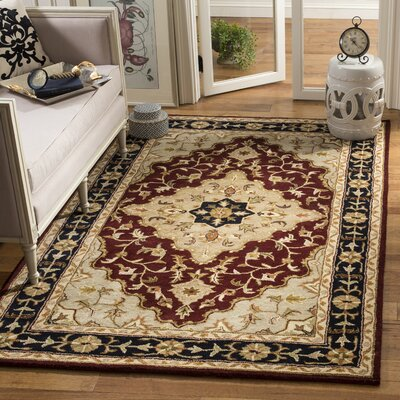 Balthrop Red/Black Area Rug Rug Size: Rectangle 5 x 8