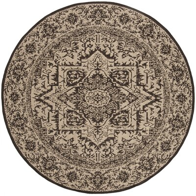 Allie Contemporary Beige/Black Area Rug Rug Size: Round 67