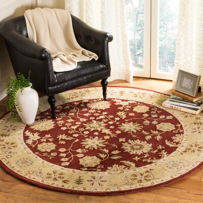 Balthrop Red/Gold Floral Area Rug Rug Size: Round 6