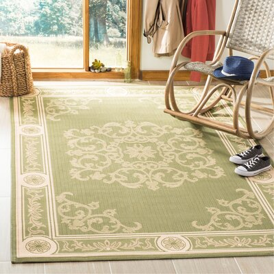 Carsen Olive/Natural Outdoor Rug Rug Size: Rectangle 53 x 77