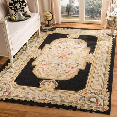 Duarte Hand-Hooked Navy/Ivory Area Rug Rug Size: Rectangle 6 x 9