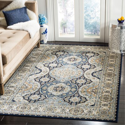 Pentillie Navy/Ivory Area Rug Rug Size: Rectangle 51 x 77