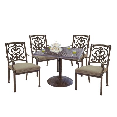 Astoria Grand Palazzo Sasso 5 Piece Square Dining Set with Cushions Finish: Mocha