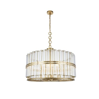 Tiemann 9-Light LED Foyer Pendant Color: Antique Gold Leaf