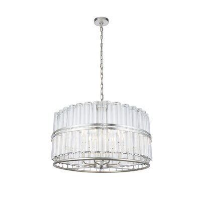 Tiemann 9-Light LED Foyer Pendant Color: Antique Silver Leaf