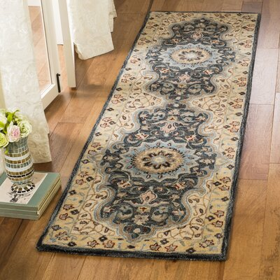 Kuhlman Hand-Woven Wool Cream/Black Area Rug Rug Size: Runner 23 x 8