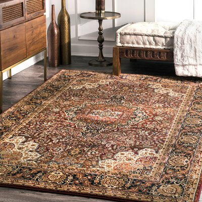 Lemay Burgundy Area Rug Rug Size: Rectangle 76 x 96