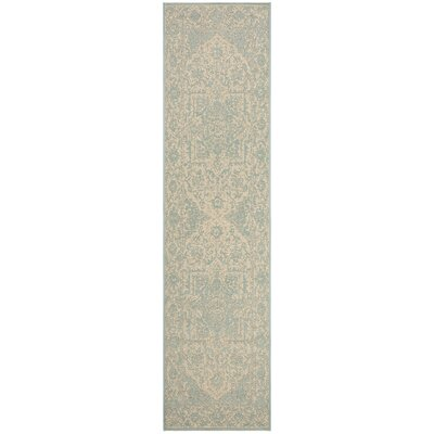 Allie Cream/Aqua Area Rug Rug Size: Runner 2 x 8