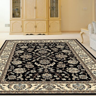 Weiser Rectangle Black Area Rug Rug Size: Rectangle 55 x 77