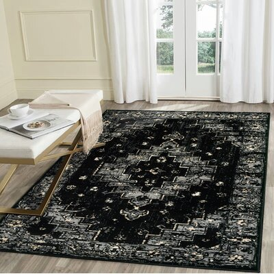 Rueben Black/Gray Area Rug Rug Size: Rectangle 52 x 72