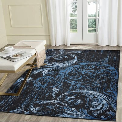 Rueben Black/Blue Area Rug Rug Size: Rectangle 79 x 95
