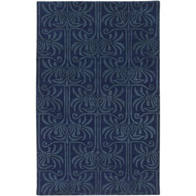Bartell Navy Medallion/Damask Area Rug Rug Size: Rectangle 9 x 13