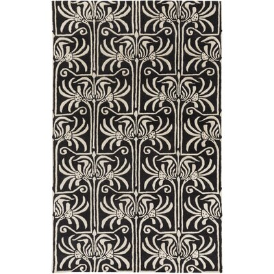 Bartell Hand-Tufted Black/Ivory Damask Area Rug Rug Size: Rectangle 2 x 3