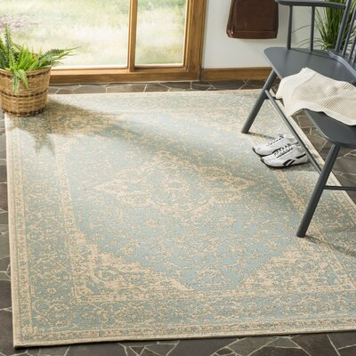 Allie Aqua/Cream Area Rug Rug Size: Rectangle 51 x 76