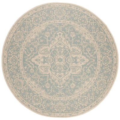 Allie Aqua/Cream Area Rug Rug Size: Round 67