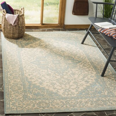 Allie Cream/Aqua Area Rug Rug Size: Rectangle 4 x 6