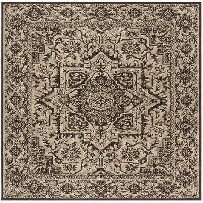 Allie Contemporary Beige/Black Area Rug Rug Size: Square 67