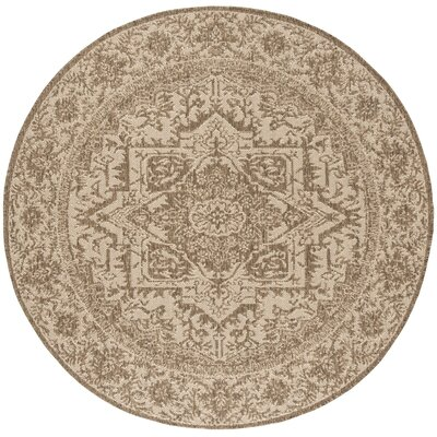 Allie Cream/Beige Area Rug Rug Size: Round 67