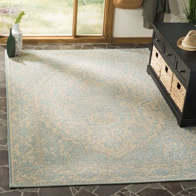 Allie Cream/Aqua Area Rug Rug Size: Square 67