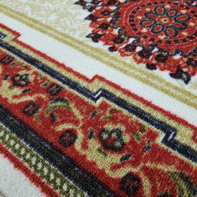 Deston Medallion Red/Cream Area Rug Rug Size: Rectangle 410 x 610