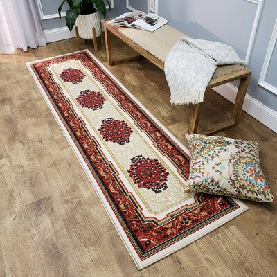 Deston Medallion Red/Cream Area Rug Rug Size: Runner 110 x 610