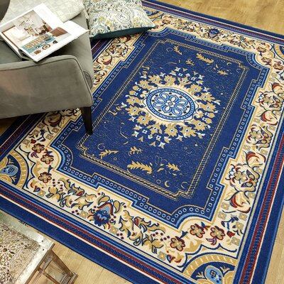 Deston Medallion Navy Area Rug Rug Size: Rectangle 82 x 910