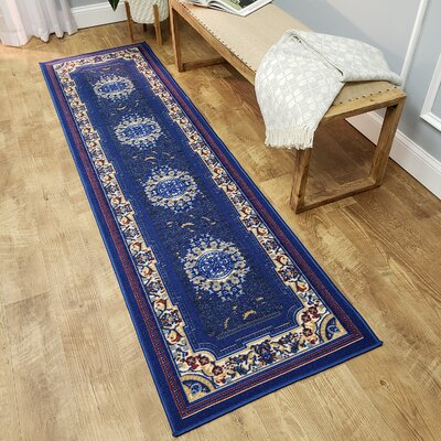 Deston Medallion Navy Area Rug Rug Size: Runner 110 x 610