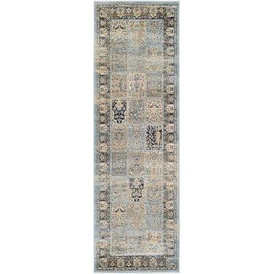 Cotswolds Column Panel Light Blue/Black Area Rug Rug Size: Runner 28 x 71