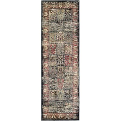Cotswolds Black/Red Area Rug Rug Size: Runner 28 x 71