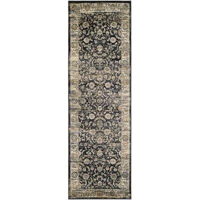 Cotswolds Floral Emblem Black/Oatmeal Area Rug Rug Size: Runner 28 x 71