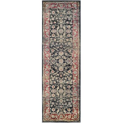Cotswolds Black/Red Area Rug Rug Size: Runner 27 x 71