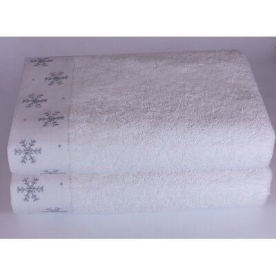 Embroidered Snowflake Towel Set Color: White