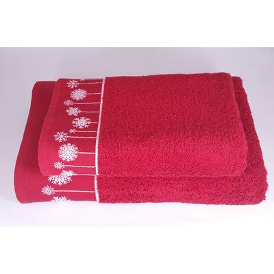 Embellished Christmas Snow Ornaments 2 Piece Towel Set Color: Red