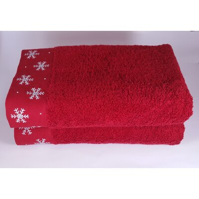Embroidered Snowflake 2 Piece Towel Set Color: Red
