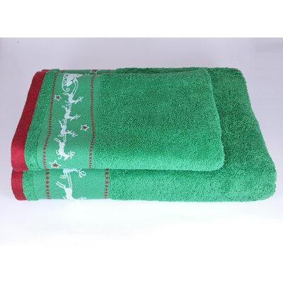 Santa Embellished 2 Piece Towel Set