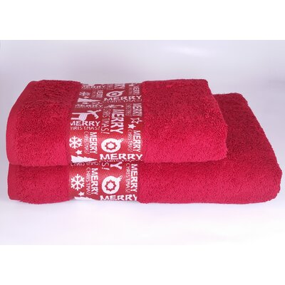 Merry Christmas 2 Piece Towel Set Color: Red