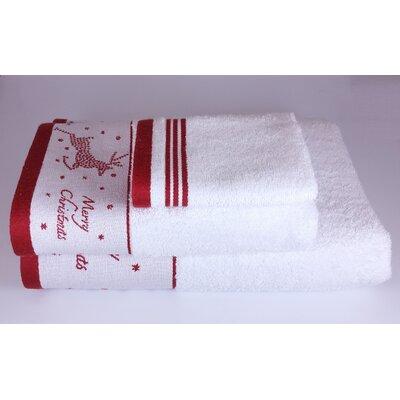Embroidered Christmas Deer 3 Piece Towel Set