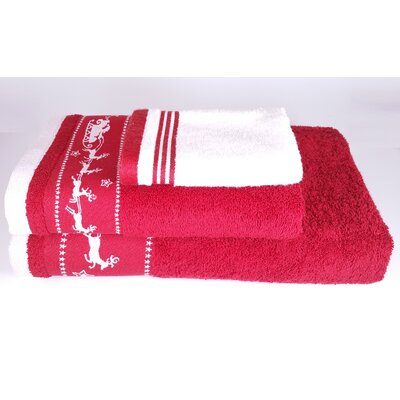 Santa Embellished 3 Piece Towel Set Color: Red